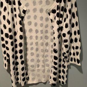 Black & White Polka Dot Cardigan Sweater